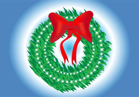 pine boughs: Christmas wreath. easy to edit Illustration