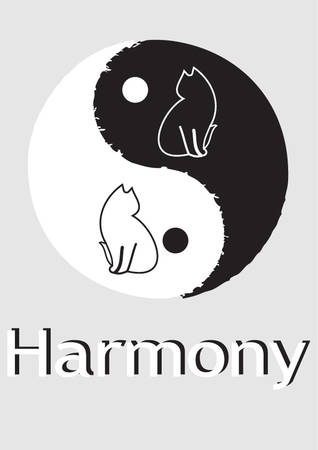 karma concept: Cat. vector - easy to edit Illustration
