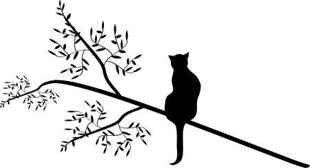cat in a tree. Vektoros illusztráció