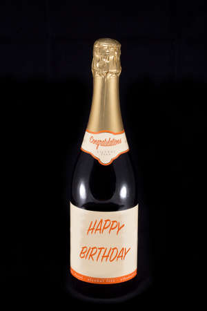 champaign: Champaign bottle with text Congratulations and Happy Birthday
