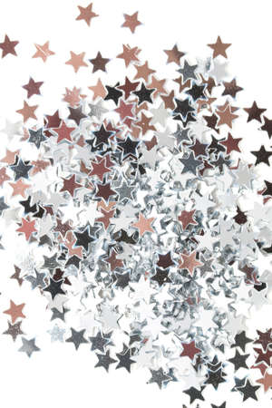 silver stars: Golden and silver stars on white background Stock Photo