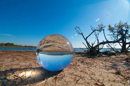 glass sphere: Beach in glass sphere
