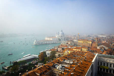Venice from above, St. Mark's square (San Marco) is the tourist heart of Venice with iconic sights of St. Mark's basilica,  Venice, Italy, Europe Stock Photo