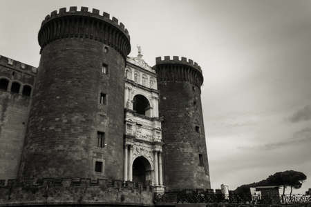 View of an old historical building in the city of Naples, Naples, Italy, Europe