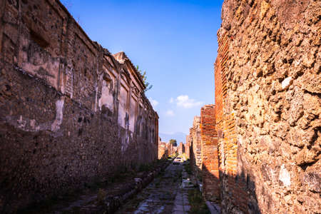 View with a unique perspective of the Archaeological ruins in Pompeii, Naples (Napoli), Italy, Europe