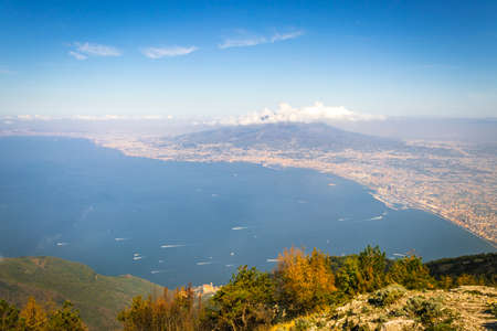 Landscape view of beautiful green mountains and Mount Vesuvius and the Bay of Naples from Mount Faito, Naples (Naploi), Italy, Europe Reklamní fotografie