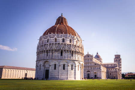 View of the leaning Tower of Pisa, Piazza dei Miracoli, Piazza del Duomo, in the city of Pisa, Pisa, Tuscany, Italy, Europe
