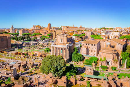 View of the Roman Forum, Ancient Roman ruins in Rome, Rome, Italy, Europe