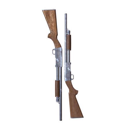 ithaca old shotguns 3d illustration Archivio Fotografico