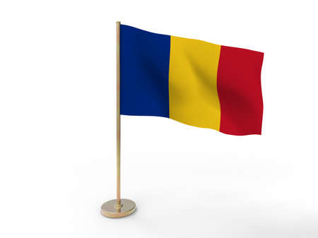 rumania: flag of Romania. 3D illustration on white background with shadow.