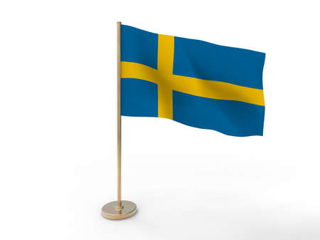 sverige: flag of Sweden. 3D illustration on white background with shadow. Stock Photo
