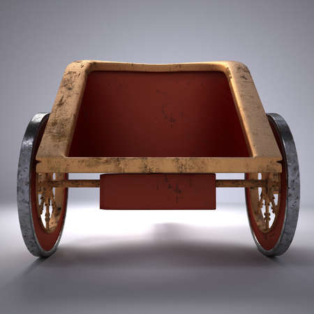 the roman empire: Old scratched roman chariot. on gradient white background. metal wheels and gold decoration. 3D illustration on white background isolated