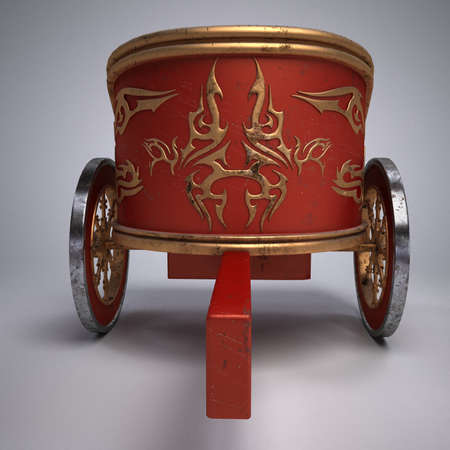 chariot: Old scratched roman chariot. on gradient white background. metal wheels and gold decoration. 3D illustration on white background isolated