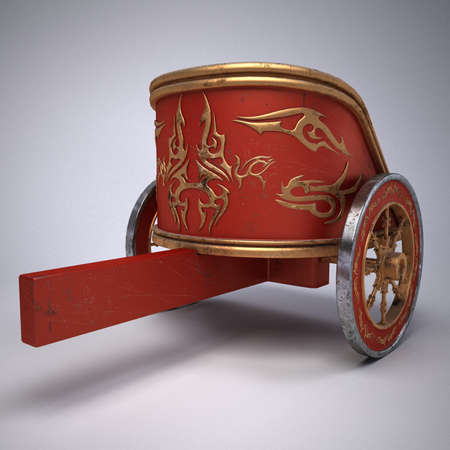 Old scratched roman chariot on gradient white background.