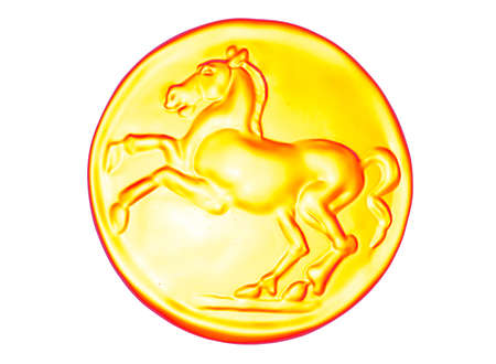 roman empire: 3D illustration coin with horse.sugar. metal gold coin ancient. roman empire money. game graphics. candy Stock Photo