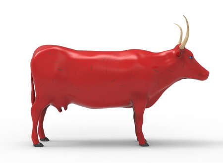 holstein: 3D illustration of the cow, on white background isolated, with shadow Stock Photo