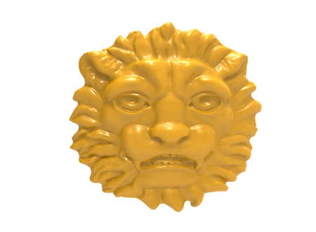 3d lion: 3d illustration of metal lion head.