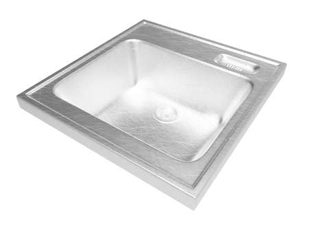 silver ware: kitchen sink isolated on white background. easy to use. metall. Housework.  3D illustration. abstract art