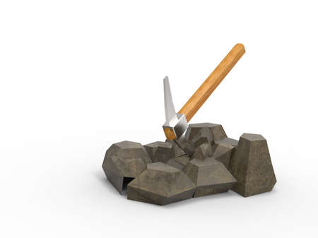 pickaxe: 3d illustration of pick on the rocks. isolated on white background with shadow.