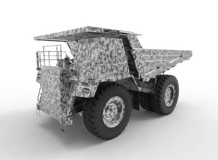 3d illustration of mine vehicle machine, on white background isolated with shadow. Imagens