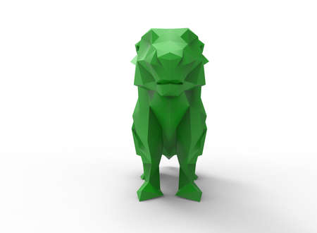 prairie dog: prairie dog character. cartoon low poly 3D illustration of animal. green gamma triangles and polygons on white background isolated with shadow.