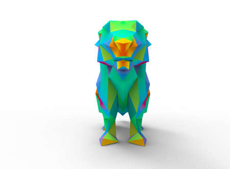 prairie dog: prairie dog character. cartoon low poly 3D illustration of animal. rainbow gamma triangles and polygons on white background isolated with shadow. Stock Photo