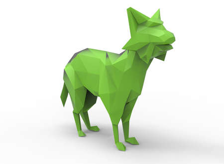 bobcat: bobcat character. cartoon low poly 3D illustration of animal. green triangles and polygons on white background isolated with shadow.