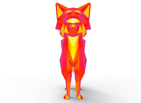 bobcat: bobcat character. cartoon low poly 3D illustration of animal. red gamma triangles and polygons on white background isolated with shadow. Stock Photo