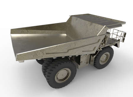 ore: 3d illustration of mine vehicle machine, on white background isolated with shadow. Stock Photo
