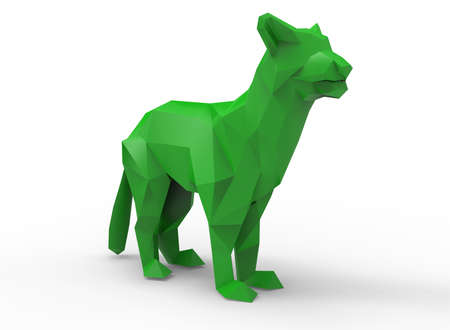 mountain lion: mountain lion character. cartoon low poly 3D illustration of animal. green triangles and polygons on white background isolated with shadow. Stock Photo