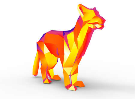 mountain lion: mountain lion character. cartoon low poly 3D illustration of animal. red gamma triangles and polygons on white background isolated with shadow.
