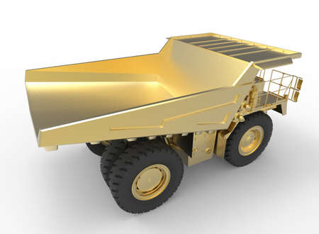 iron ore: 3d illustration of mine vehicle machine, on white background isolated with shadow. Stock Photo