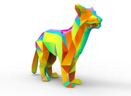mountain lion: mountain lion character. cartoon low poly 3D illustration of animal. rainbow gamma triangles and polygons on white background isolated with shadow.