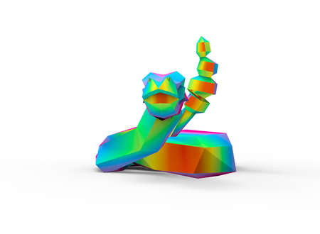rattlesnake: diamond black rattlesnake character. cartoon low poly 3D illustration of animal. rainbow triangles and polygons on white background isolated with shadow.