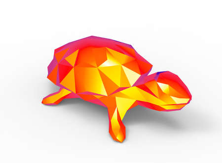 gamma: turtle character. cartoon low poly 3D illustration of animal. red gamma triangles and polygons on white background isolated with shadow.