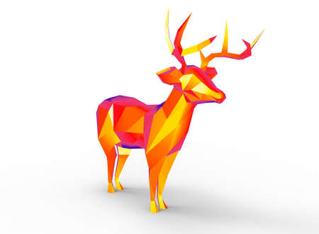 deer character. cartoon low poly 3D illustration of animal. red gamma triangles and polygons on white background isolated with shadow. Stock Photo
