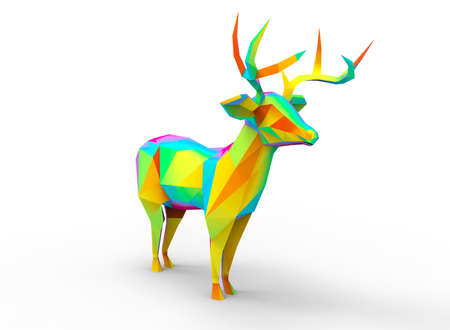 gamma: deer character. cartoon low poly 3D illustration of animal. rainbow gamma triangles and polygons on white background isolated with shadow.