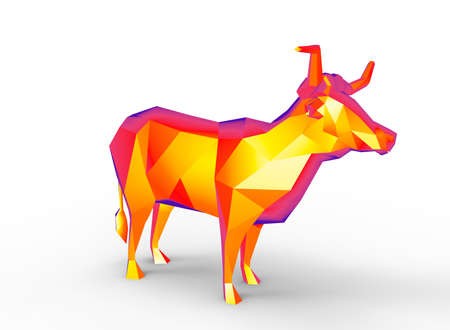 longhorn character. cartoon low poly 3D illustration of animal. red gamma triangles and polygons. on white background isolated with shadow. Stock Photo