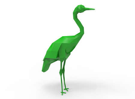whooping: whooping crane character. cartoon low poly 3D illustration of animal on white background isolated with shadow. Stock Photo