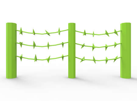 torture: 3d illustration of barbed wire. cartoon low poly style. on white background isolated with shadow