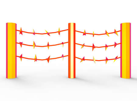 prisoner of war: 3d illustration of barbed wire. cartoon low poly style. on white background isolated with shadow