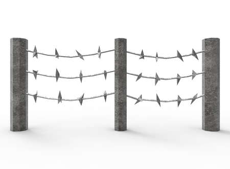 3d Illustration Of Barbed Wire. Cartoon Low Poly Style. On White ...