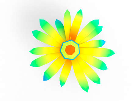 lenght: simple 3d illustration of flower. different lenght. colored icon for game or web site. on white background isolated. green eco nature