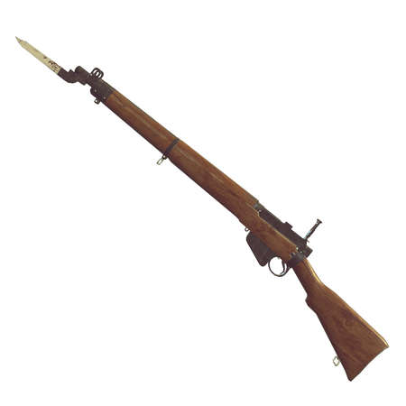 metal parts: old rifles 3D illustration. cross weapons. icon guns. cracked wood barrel. bayonet knife with blood. white background. isolated objects. crossed weapons. game icon. wood an metal. parts of weapon