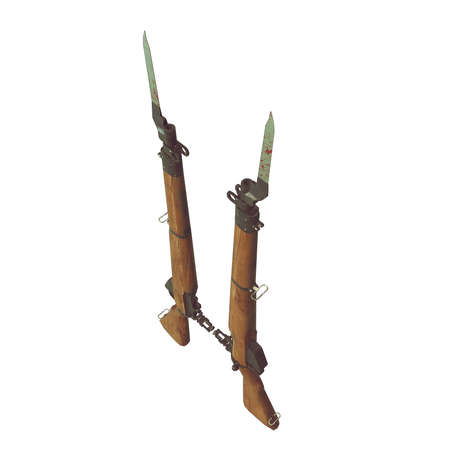 vintage military rifle: old rifles 3D illustration. cross weapons. icon guns. cracked wood barrel. bayonet knife with blood. white background. isolated objects. crossed weapons. game icon. wood an metal. parts of weapon