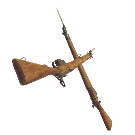 bayonet: old rifles 3D illustration. cross weapons. icon guns. cracked wood barrel. bayonet knife with blood. white background. isolated objects. crossed weapons. game icon. wood an metal. parts of weapon