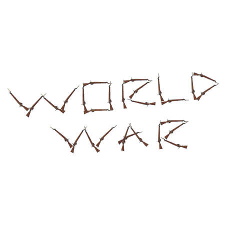 worth: world war title from the old rifles, many rusted rifles, letters and words from guns, weapons titles, worth considering, 3D illustration on white background. isolated objects.