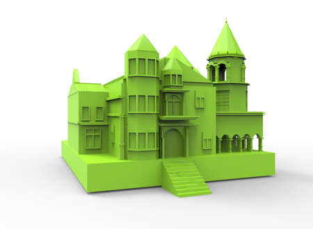 mansion: 3d illustration of simple mansion. Stock Photo