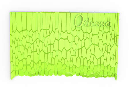 stone mason: 3d illustration of simple rock wall with Odessa word.