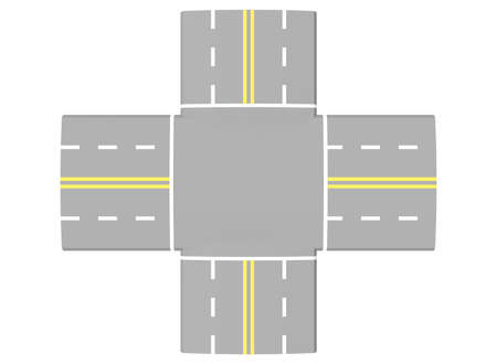 intersection: 3d illustration of simple road intersection.